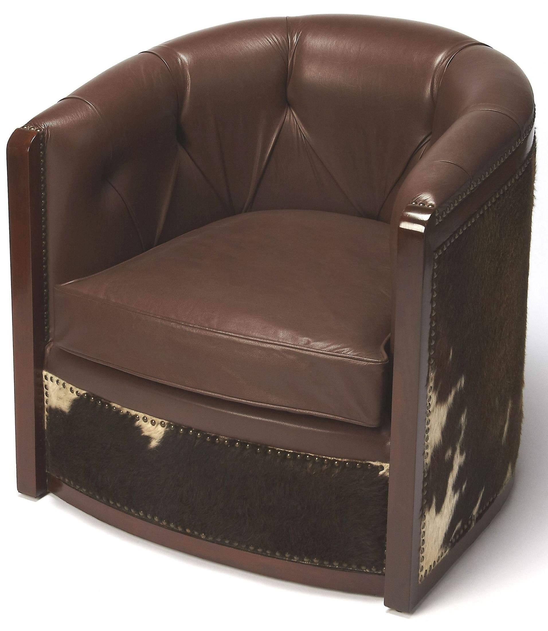 hair on hide chair healthy chairs offices wyatt leather and tub 6157350 butler