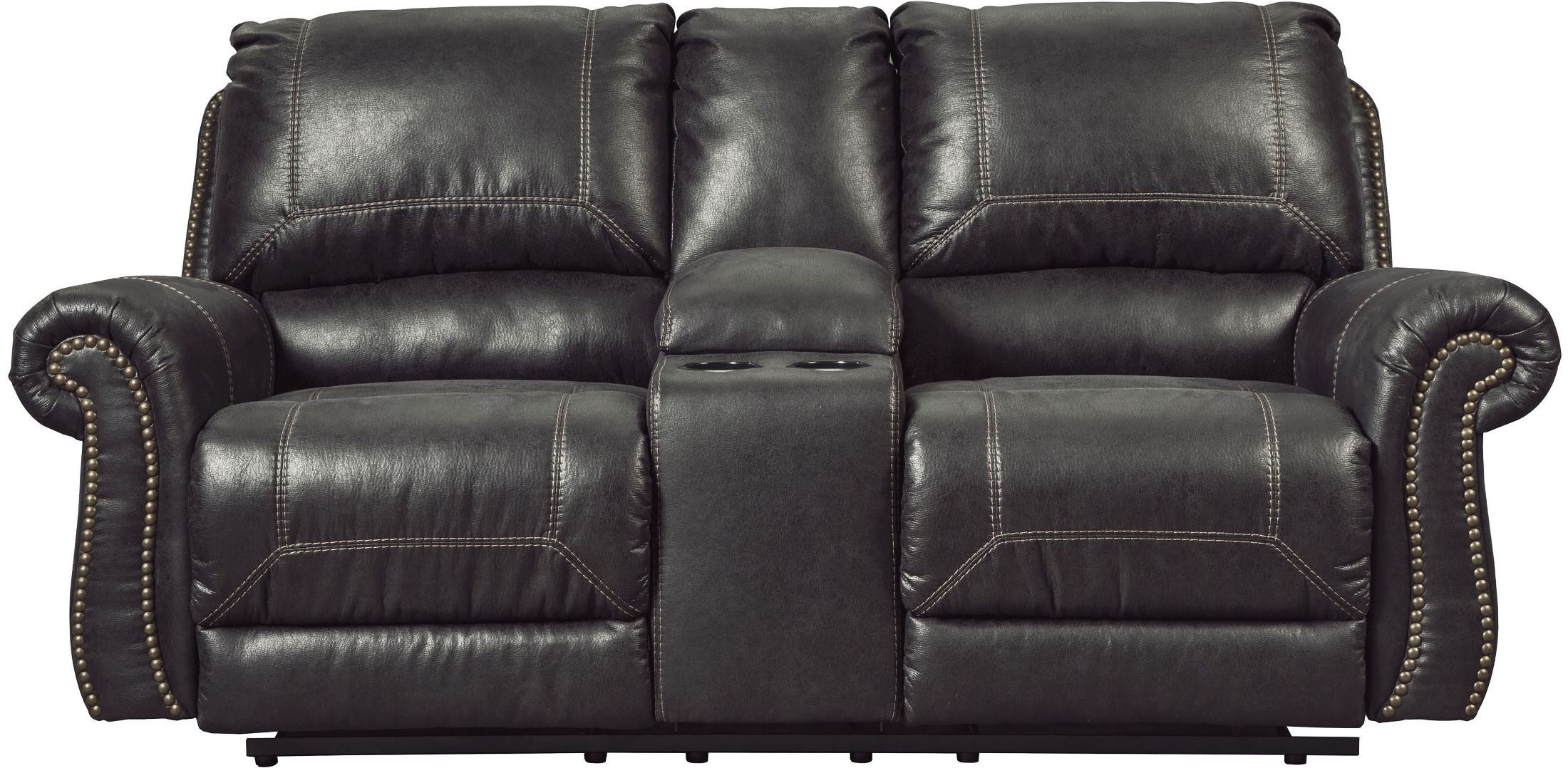 black reclining sofa with console denim fabric sofas milhaven double power loveseat