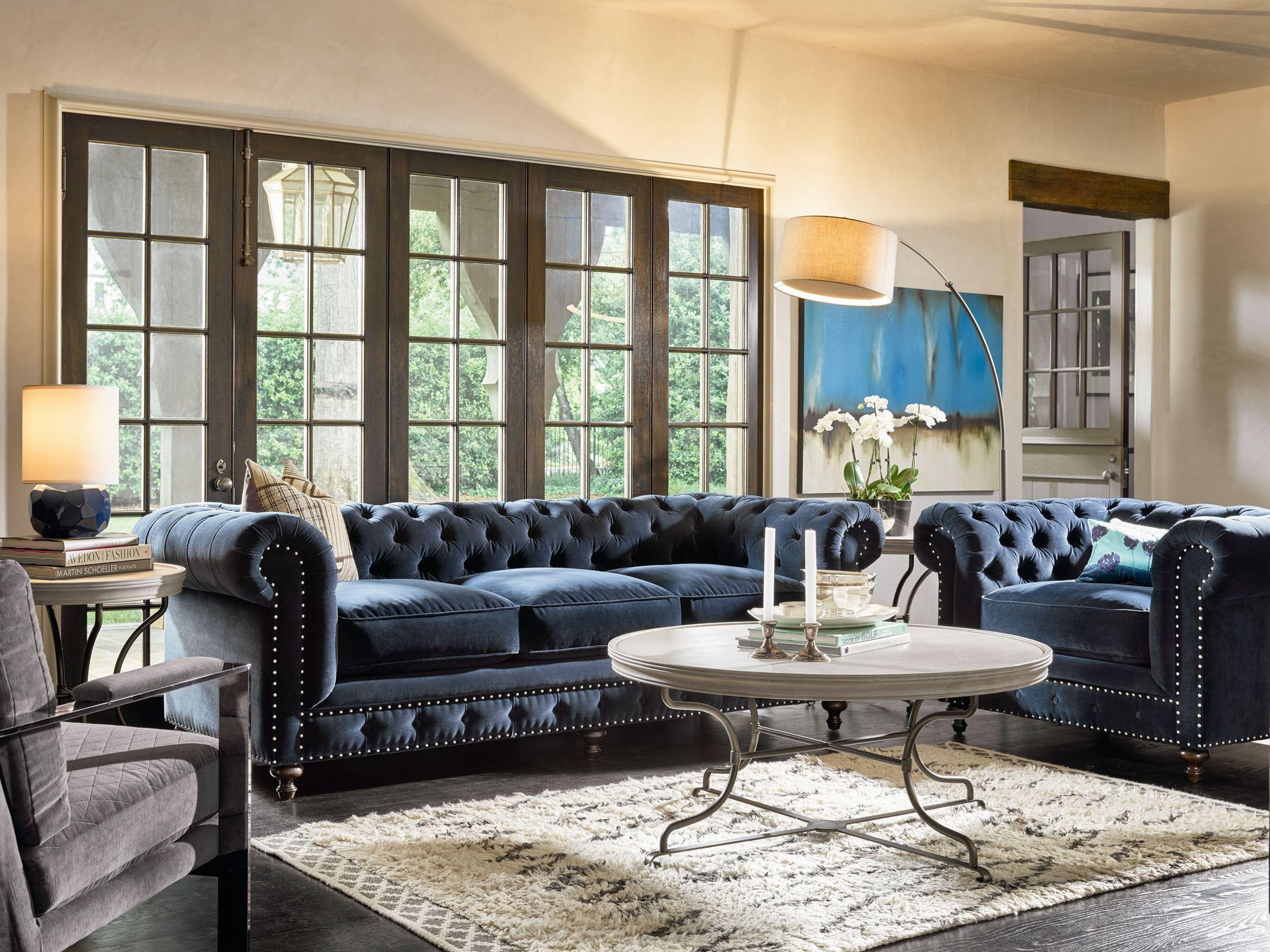 Berkeley Sumatra Blue Velvet Living Room Set from