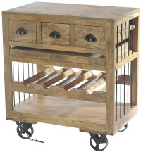 Amara Wooden Wine Cart With Shelf On Wheels from ...