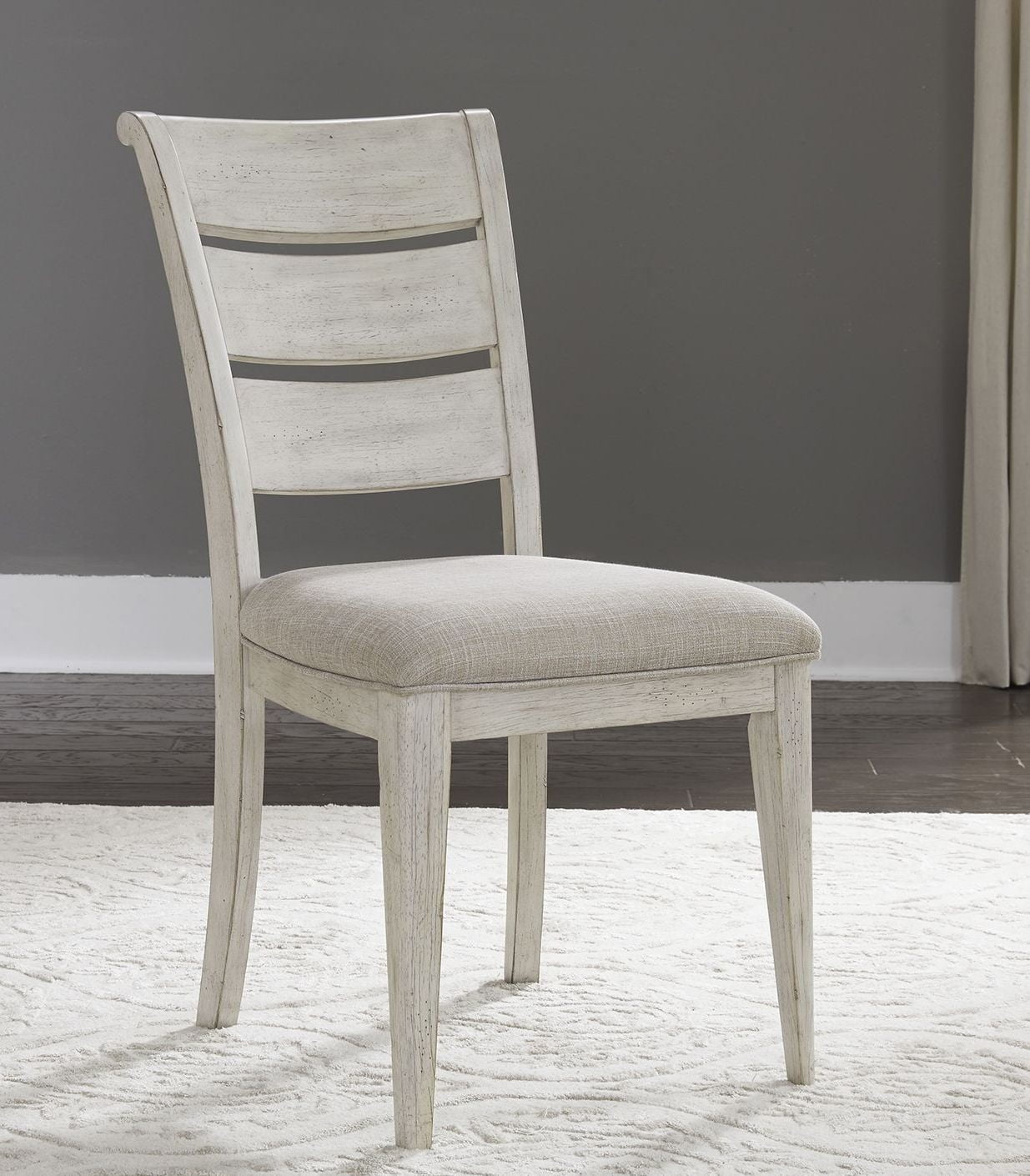 White Upholstered Chair Farmhouse Reimagined Antique White Upholstered Side Chair