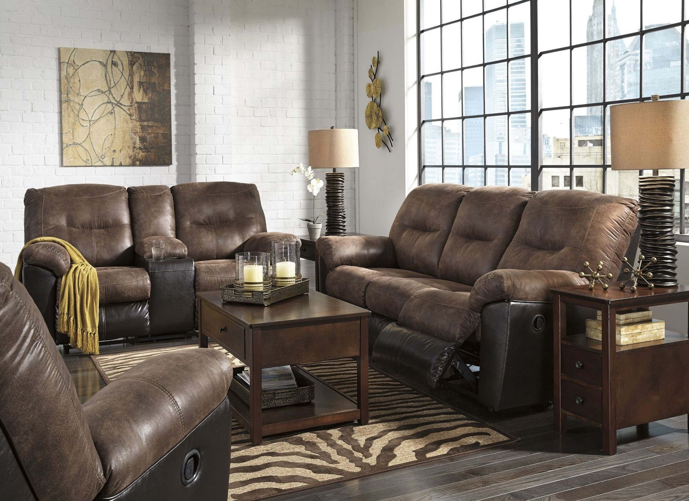 leather power reclining sofa and loveseat sets macy s cognac follett coffee living room set from ashley ...