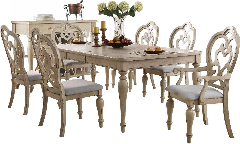 Abelin Antique White Rectangular Dining Room Set from Acme