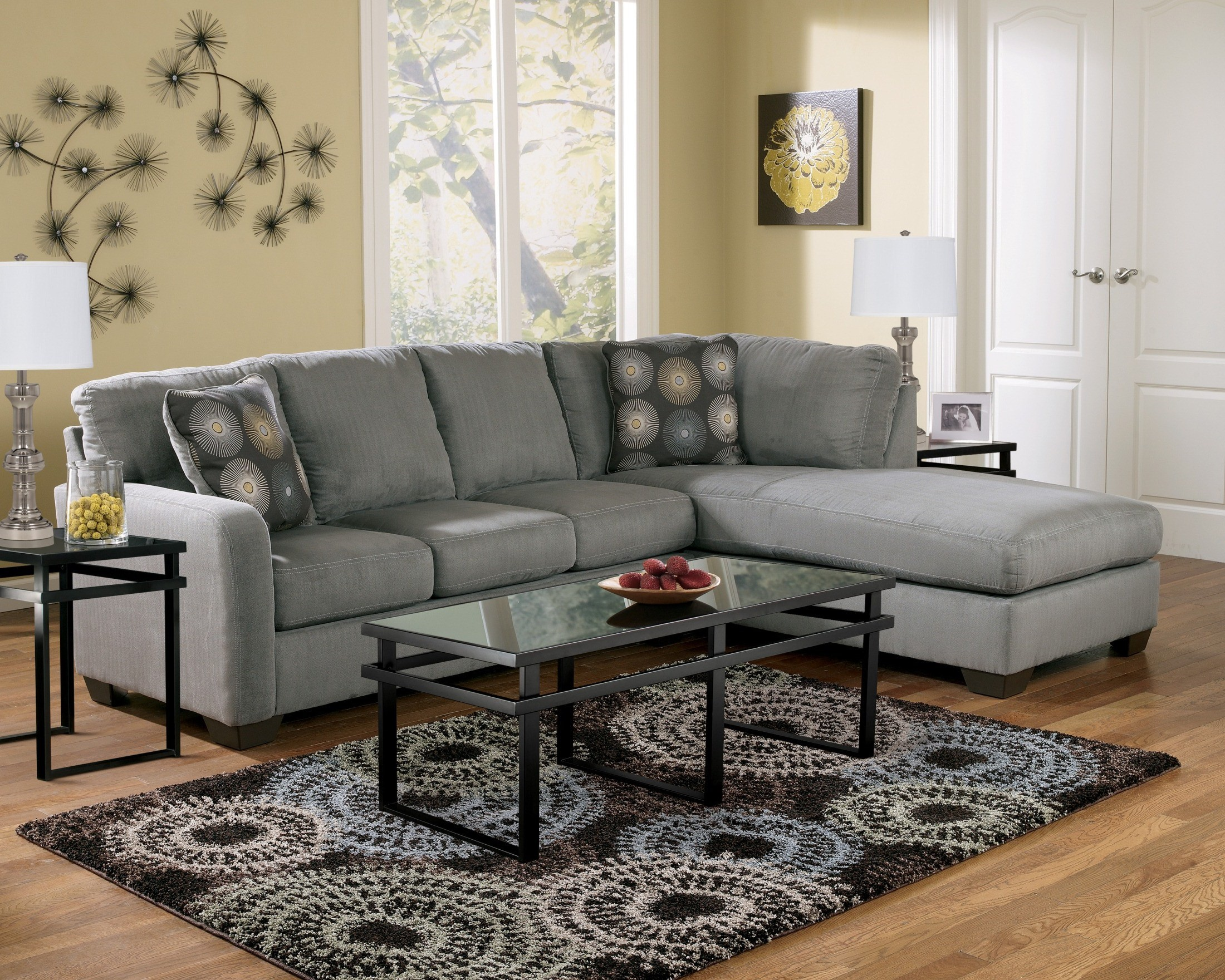 right arm facing sofa left chaise larsen zella charcoal sectional from ashley ...