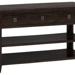 Rustic Cream Sofa Table Slide Under Tv Trays Kona Grove Chocolate Media From Jofran