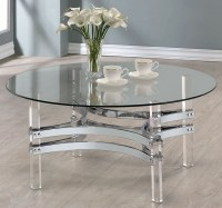 Chrome and Clear Acrylic Round Coffee Table, 720708 ...