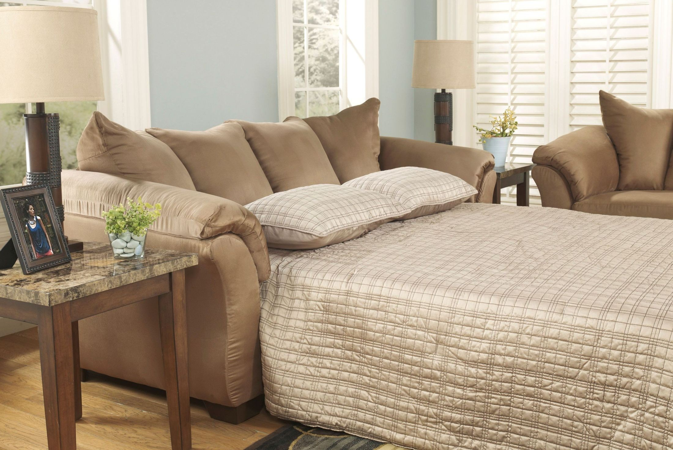 ashley darcy sleeper sofa review belize storage bed with chaise mocha full from 7500236