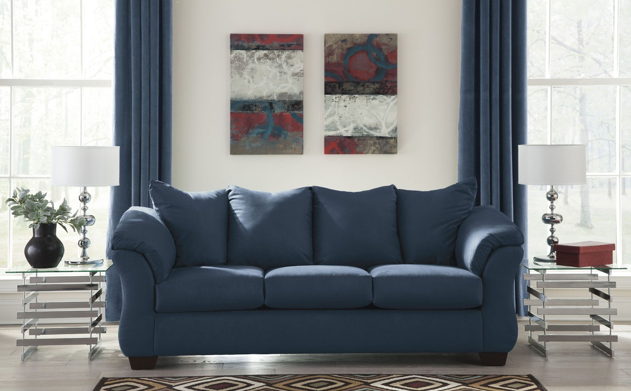 ashley darcy sleeper sofa review black leather sectional set blue from | coleman furniture