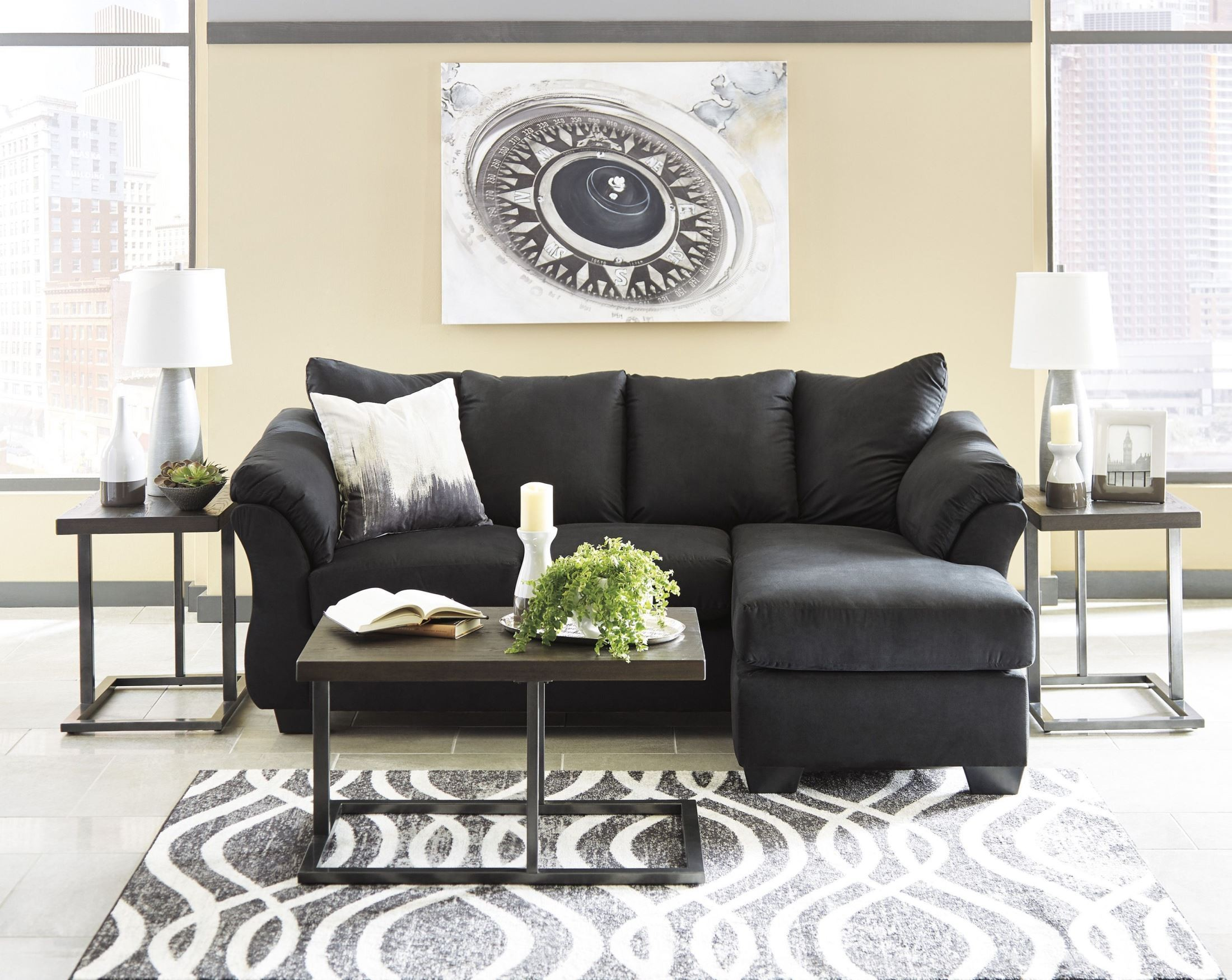 darcy sofa chaise ashley furniture oversized plush sectional black from coleman