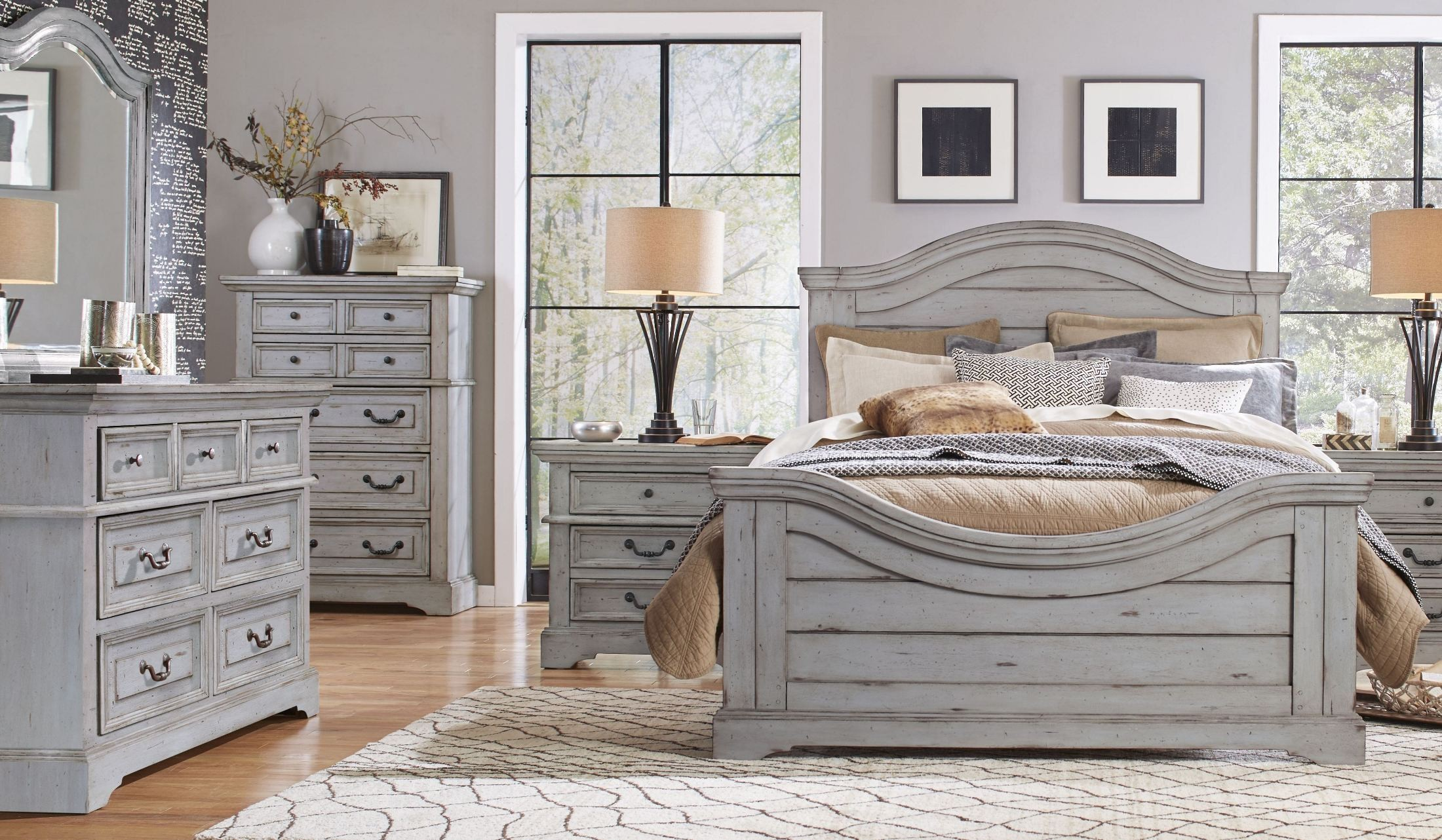 Stonebrook Antique Gray Panel Bedroom Set from American
