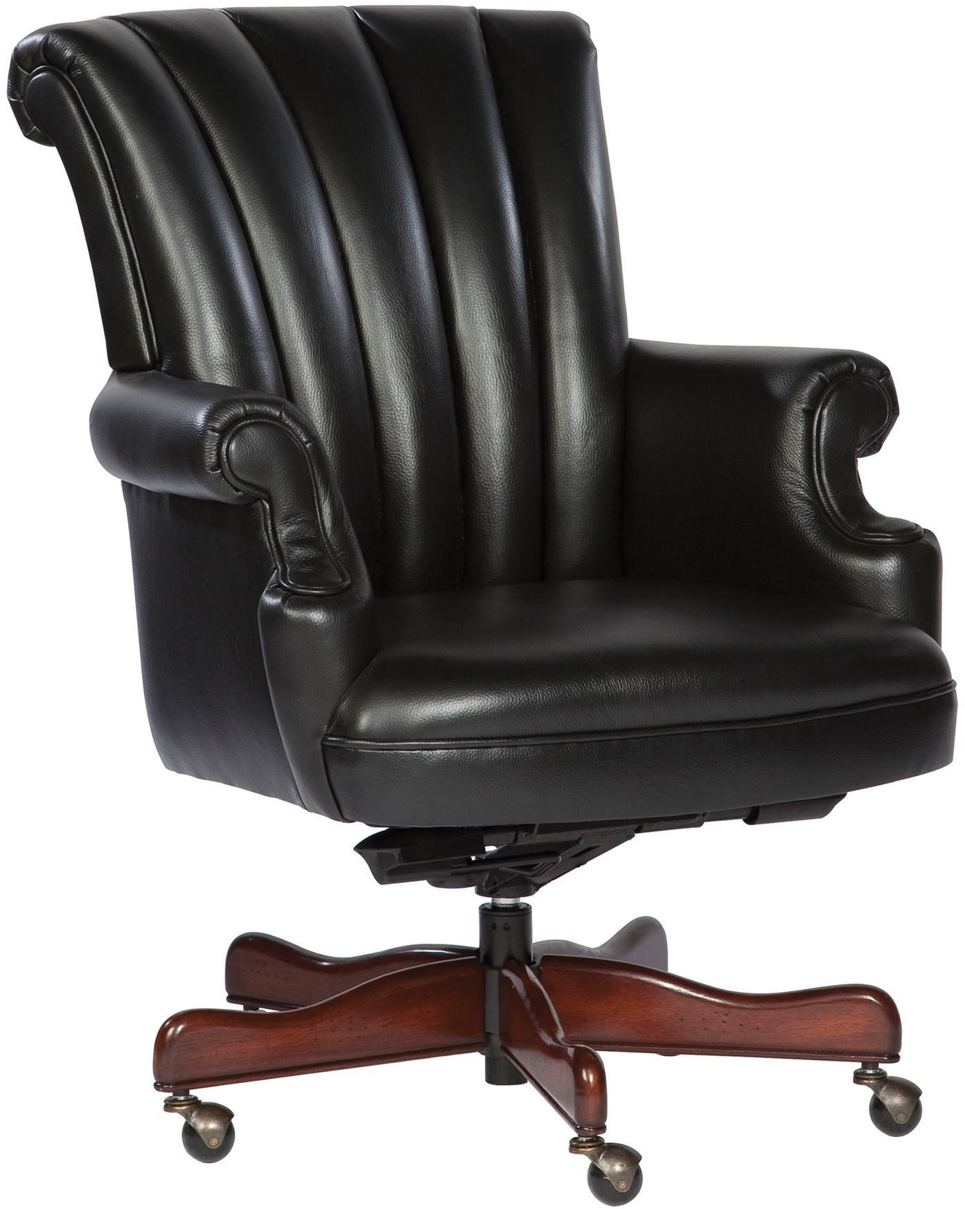 Executive Black Ribbed Back Leather Chair from Hekman