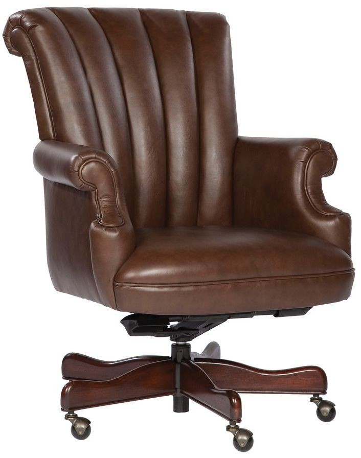 Executive Coffee Ribbed Back Leather Chair from Hekman