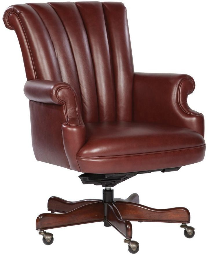 Executive Merlot Ribbed Back Leather Chair from Hekman