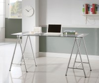 Nickel Glass Top Writing Desk from Coaster (800804 ...