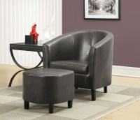 Charcoal gray Accent Chair with Ottoman from Monarch (8054 ...