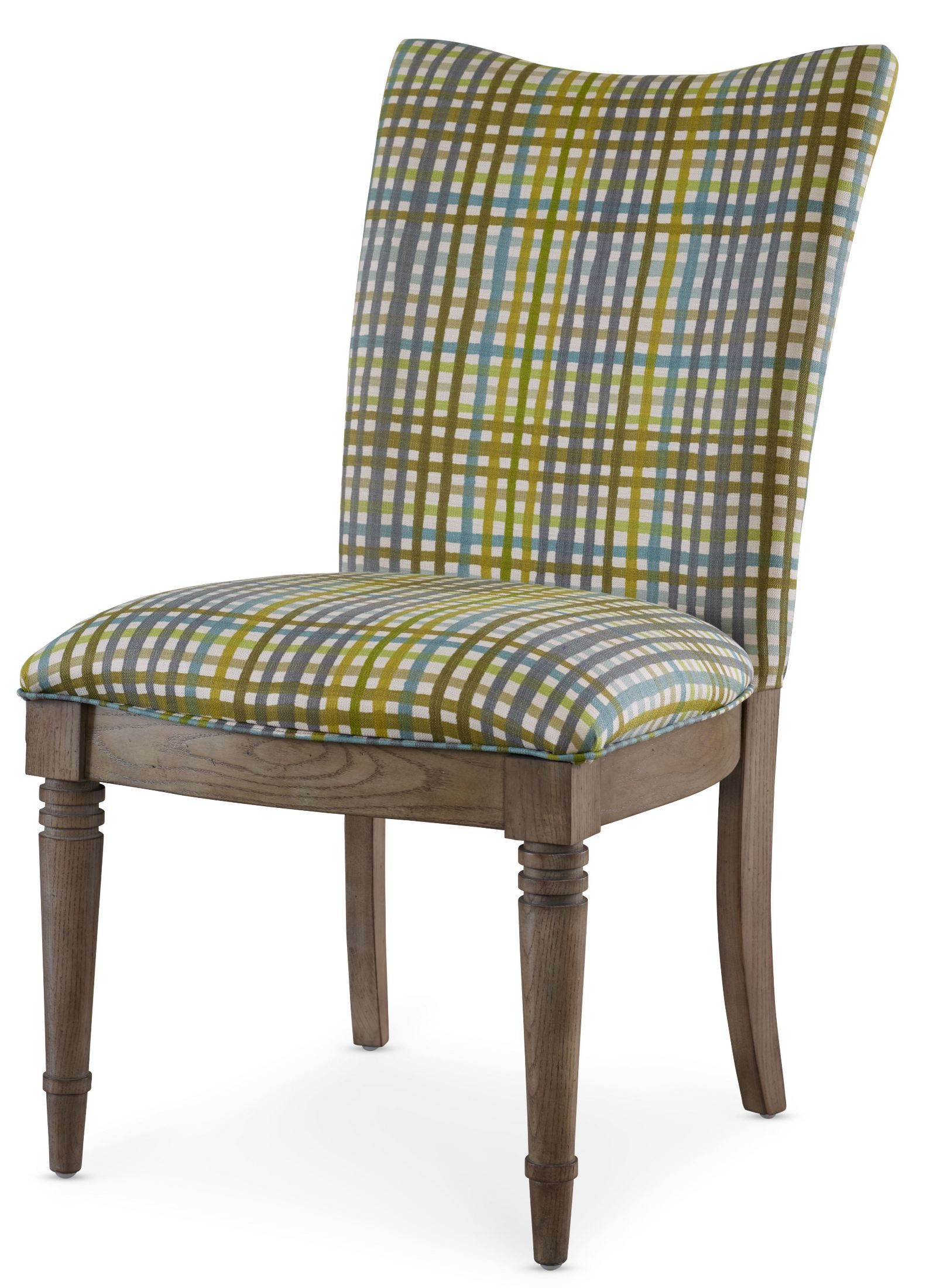 Plaid Chair Open Seating Grey Oak Kate Plaid Side Chair From Somerton