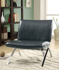 8073 Black Leather-Look / Chrome Metal Accent Chair from ...