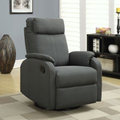 Recliner Chair Covers Grey Joie Owl High Instructions Charcoal Gray Linen Fabric Swivel Rocker From