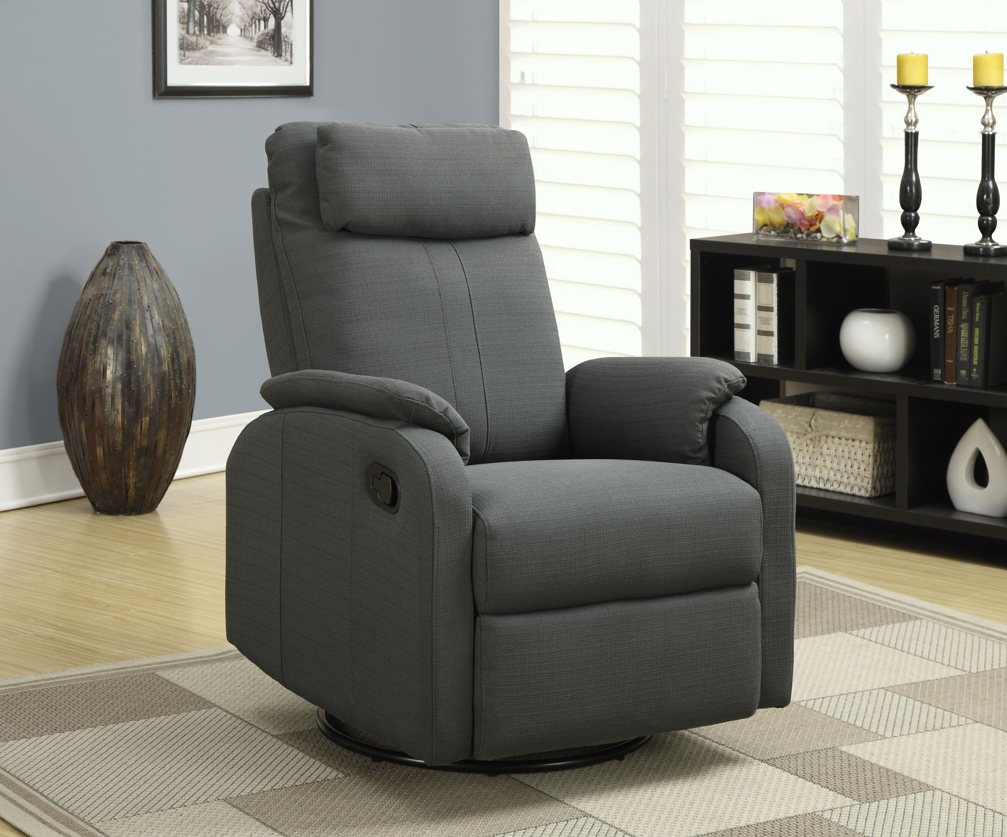 Gray Recliner Chair Charcoal Gray Linen Fabric Swivel Rocker Recliner From