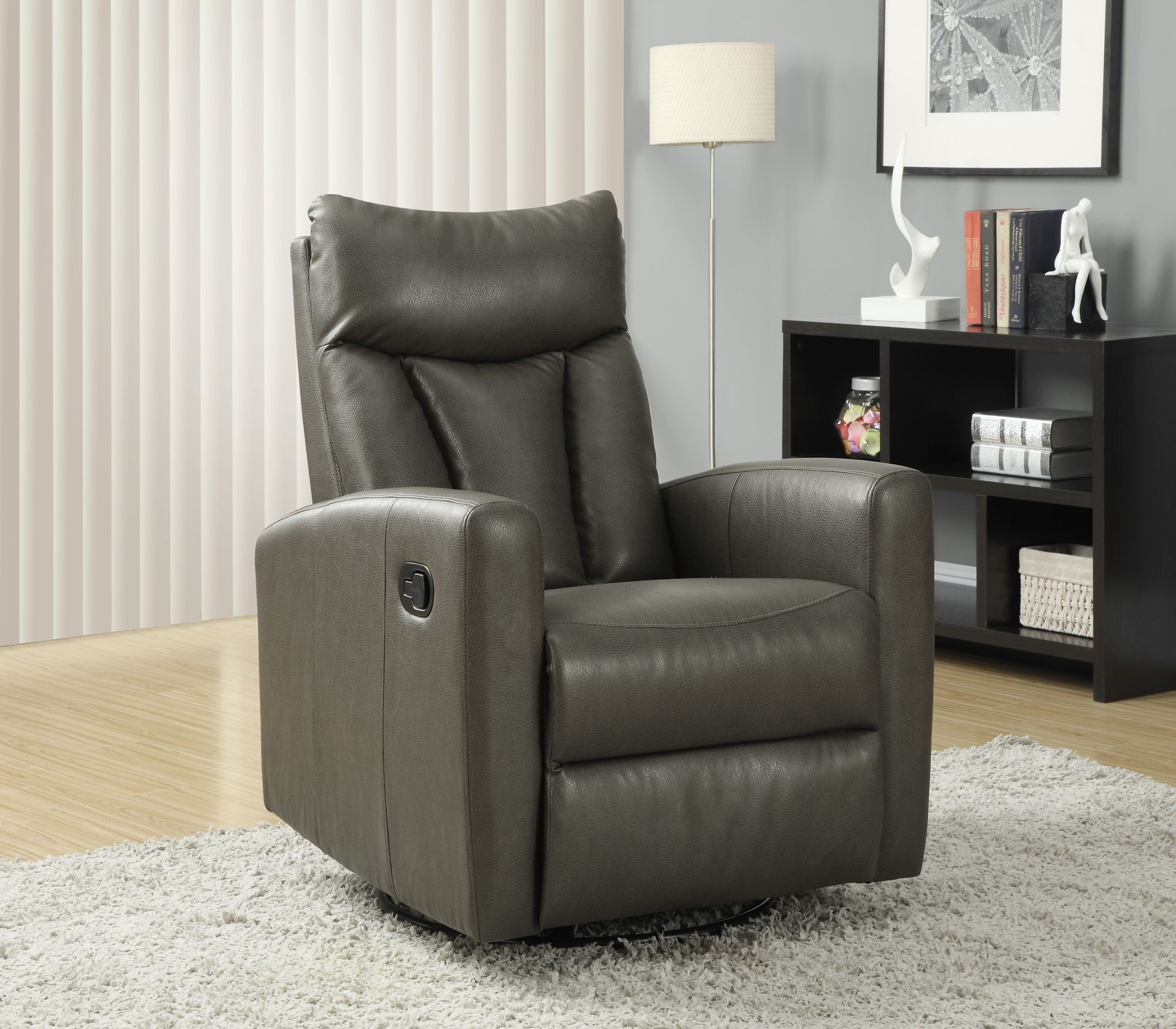 Gray Recliner Chair Charcoal Gray Swivel Glider Recliner 8087gy From Monarch