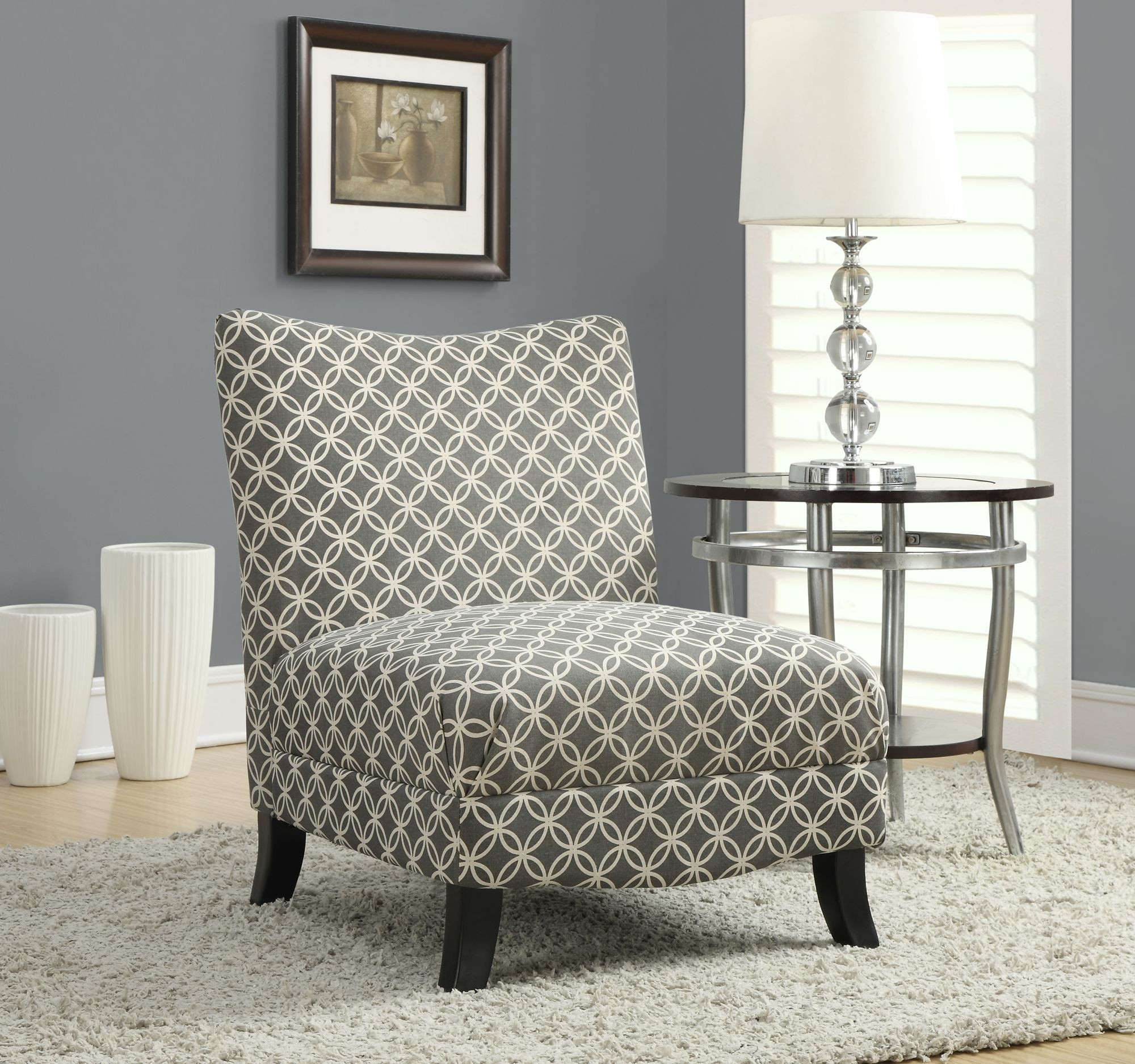 Grey Accent Chairs Gray Circular Fabric Accent Chair From Monarch 8113