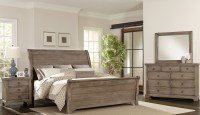 Whiskey Barrel Rustic Gray Sleigh Bedroom Set from ...
