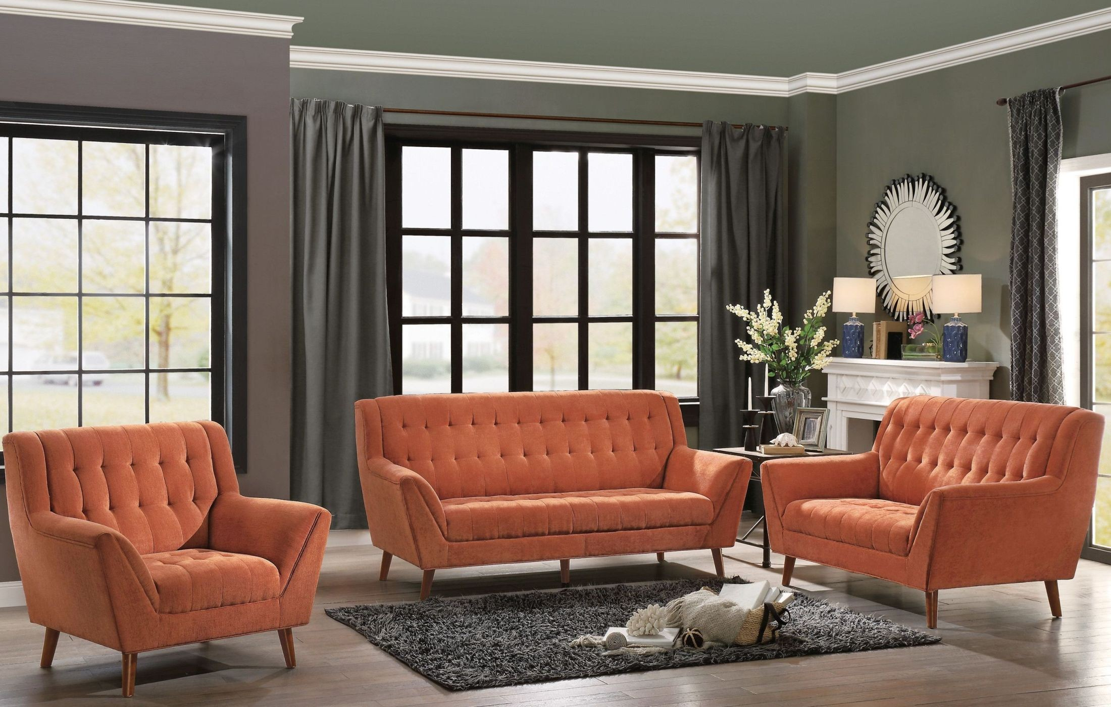 Orange Living Room Chair Erath Orange Living Room Set From Homelegance Coleman