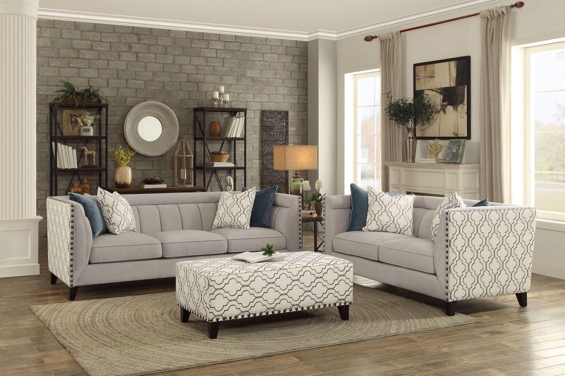 Temptation Light Grey Living Room Set From Homelegance