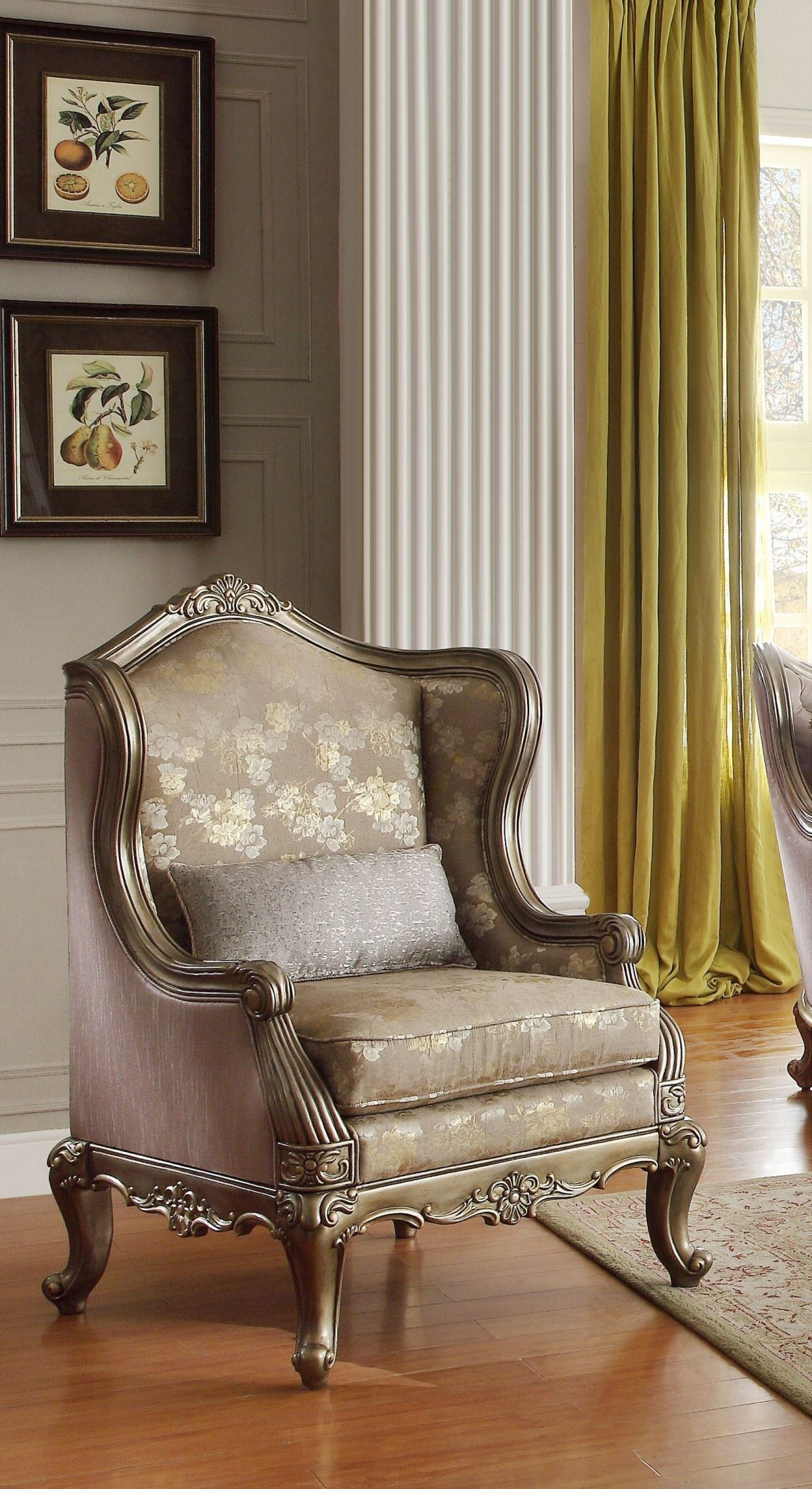 Gold Accent Chairs Fiorella Gold Faux Silk Accent Chair From Homelegance