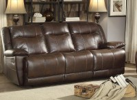 Wasola Dark Brown Triple Reclining Sofa from Homelegance ...
