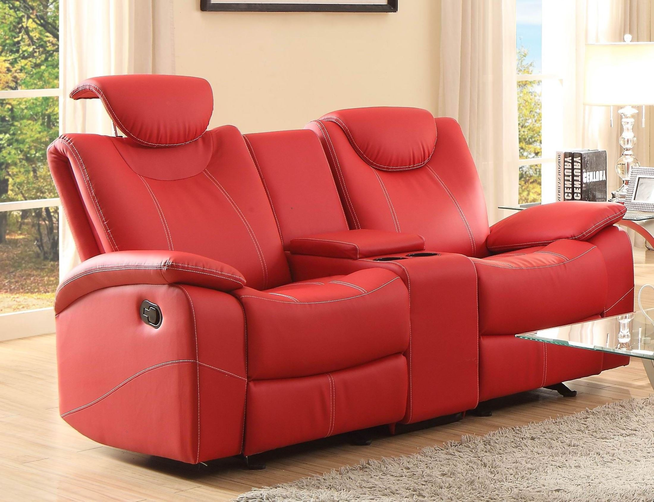 glider sofa u shaped set designs talbot red double reclining loveseat with console