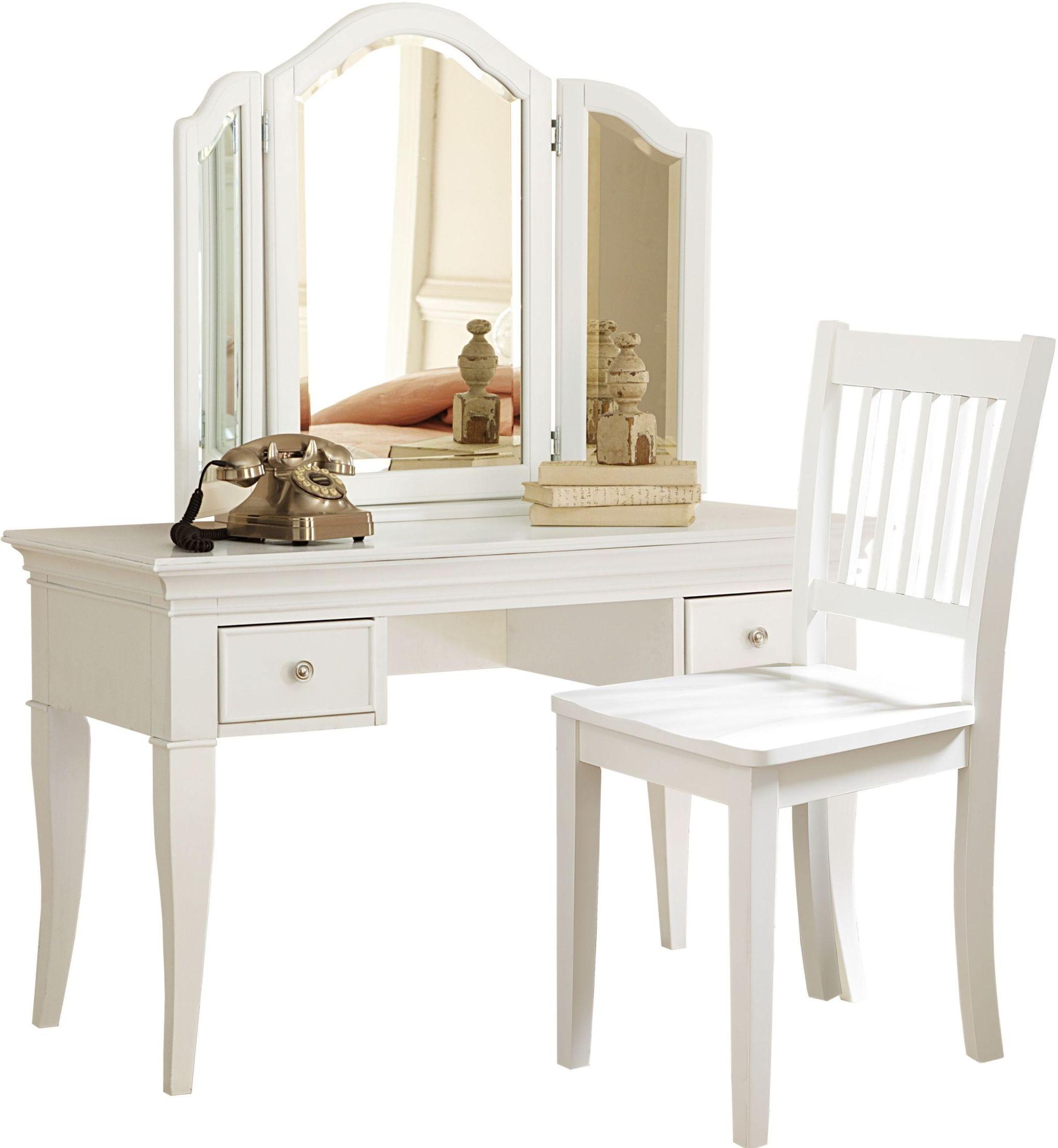 Walnut Street White Desk And Storage Vanity With Mirror
