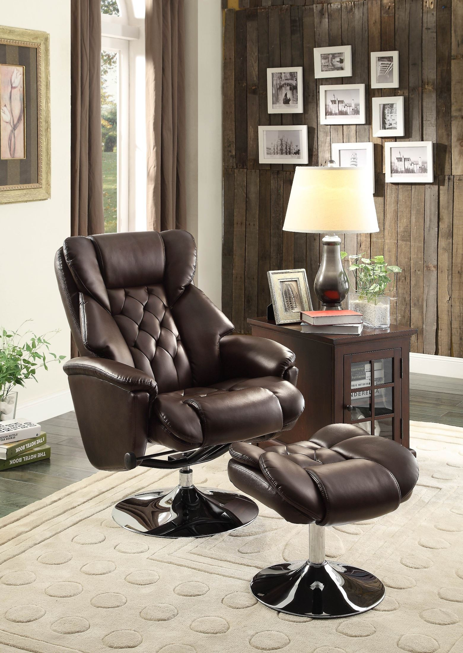 recliner vs chair with ottoman monarch specialties aleron brown swivel reclining from