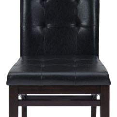 Espresso Dining Chair Swivel Chairs For Living Room Chadwick Faux Leather Tufted Back Upholstered