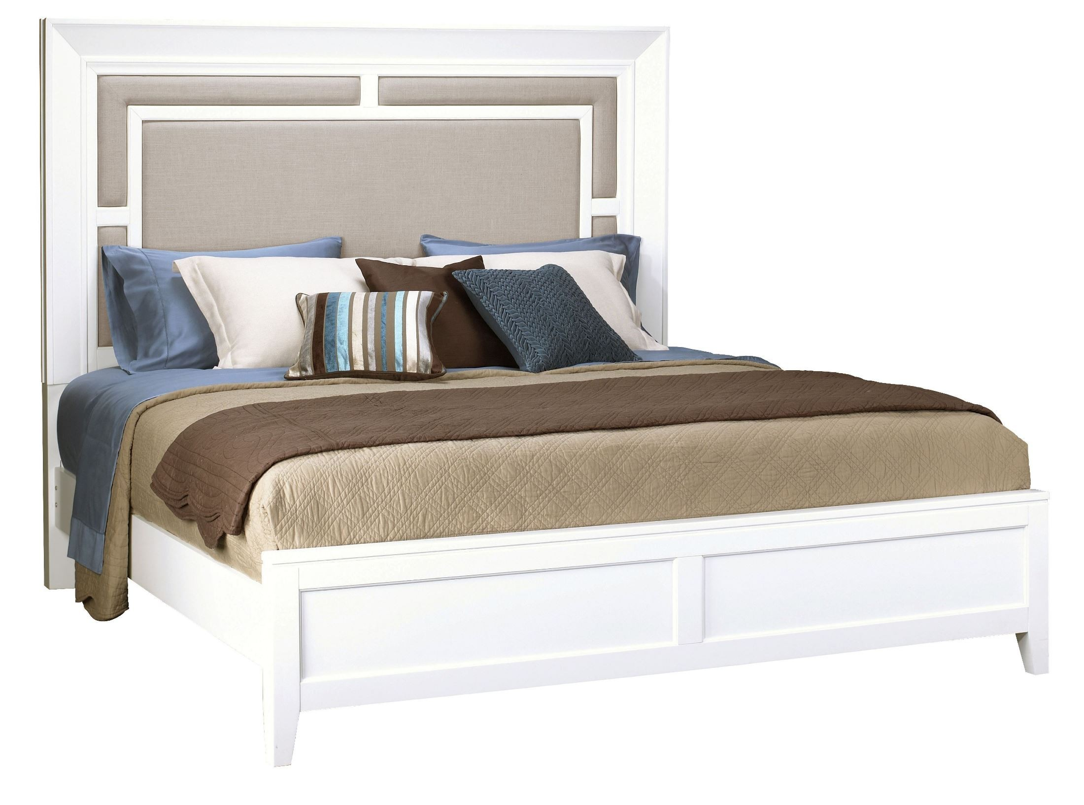 Brighton White Cal King Size Panel Bed 270 271 406