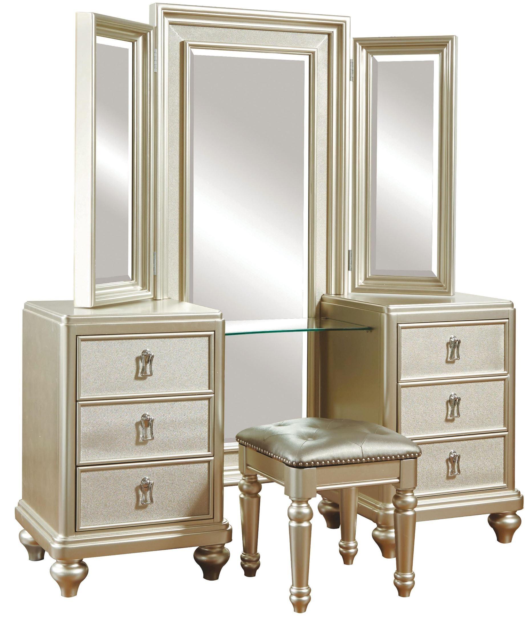 Diva Metallic Vanity Dresser with stool from Samuel Lawrence 8808012  Coleman Furniture