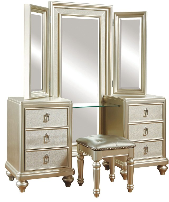 Diva Metallic Vanity Dresser with stool from Samuel Lawrence 8808