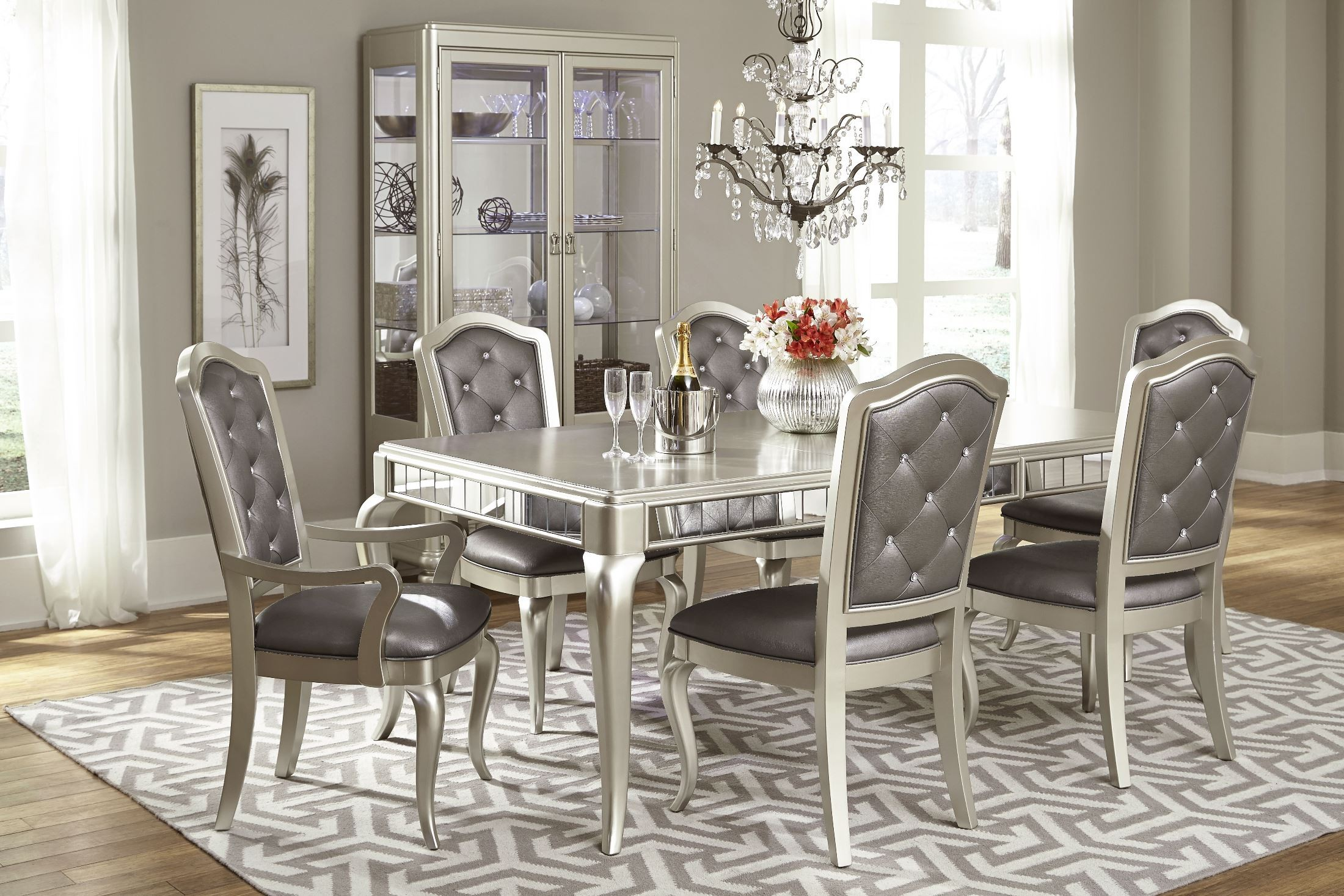 z gallerie chairs padded garden chair covers diva rectangular extendable leg dining room set from samuel lawrence (8808-135) | coleman furniture