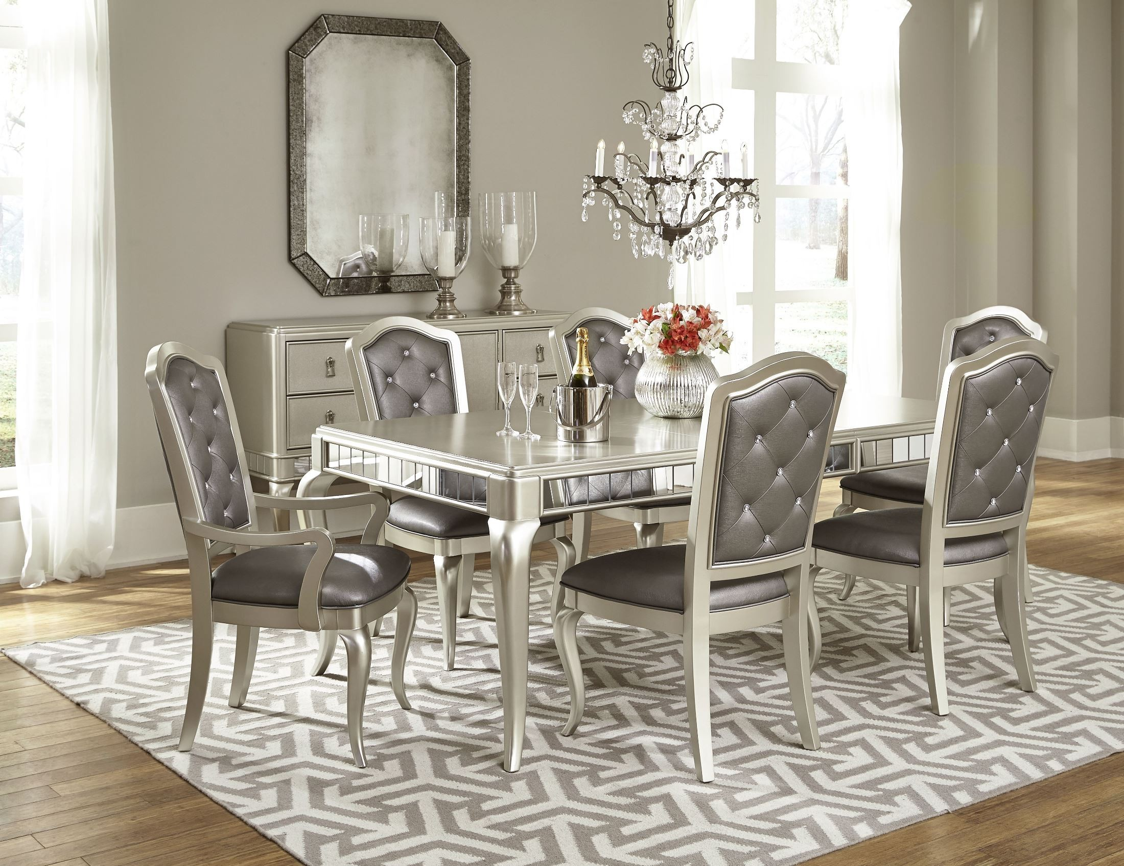 Diva Rectangular Extendable Leg Dining Room Set from