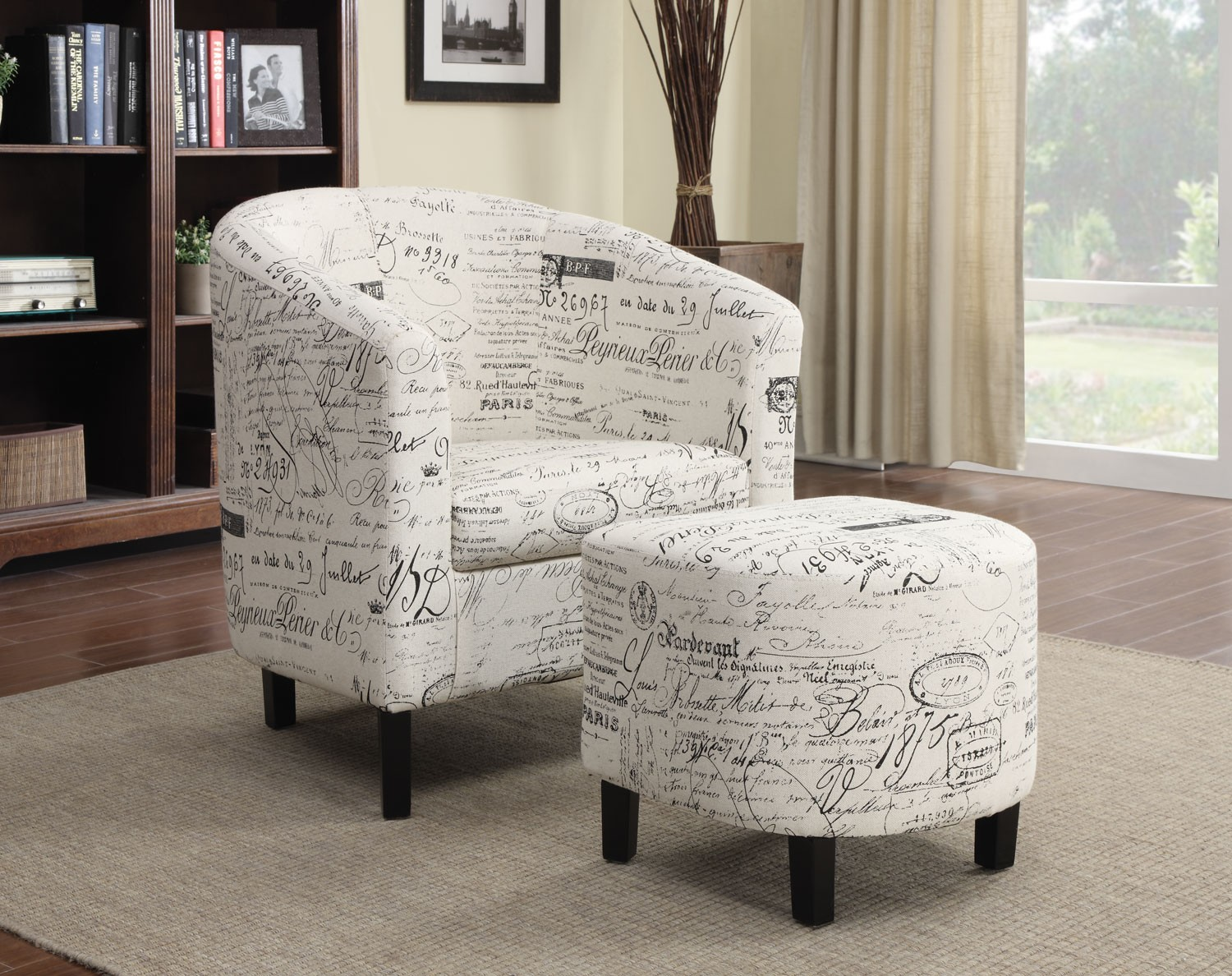 accent chairs with ottoman walmart kids french script pattern chair from
