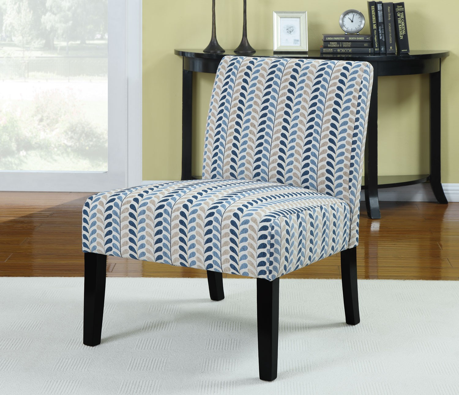 Pattern Chair Finley Blue Beige Leaf Pattern Accent Chair From Coaster