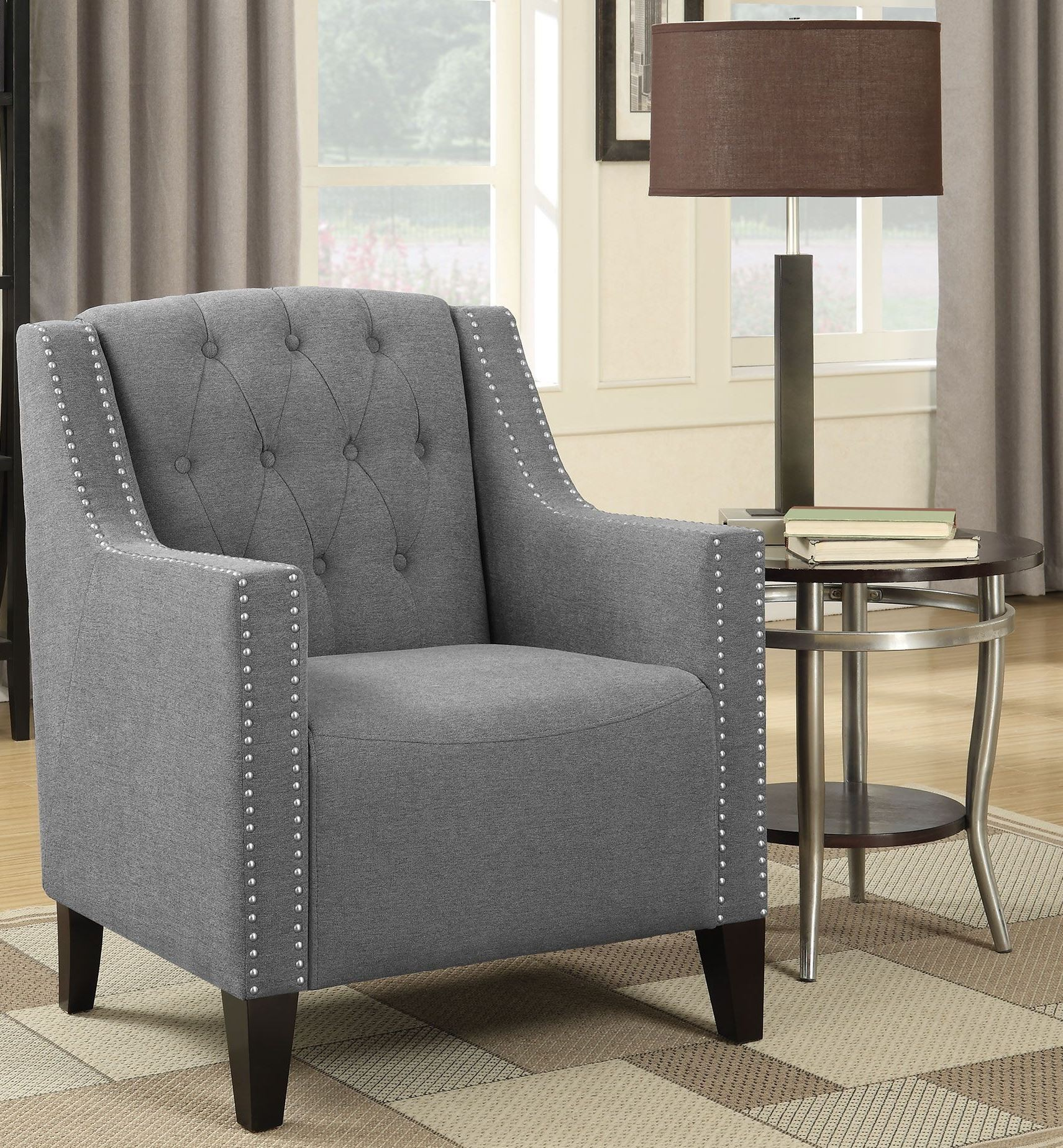 Grey Accent Chairs 902289 Grey And Dark Brown Accent Chair From Coaster