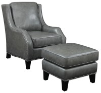 Grey Bonded Leather Accent Chair With Ottoman from Coaster ...