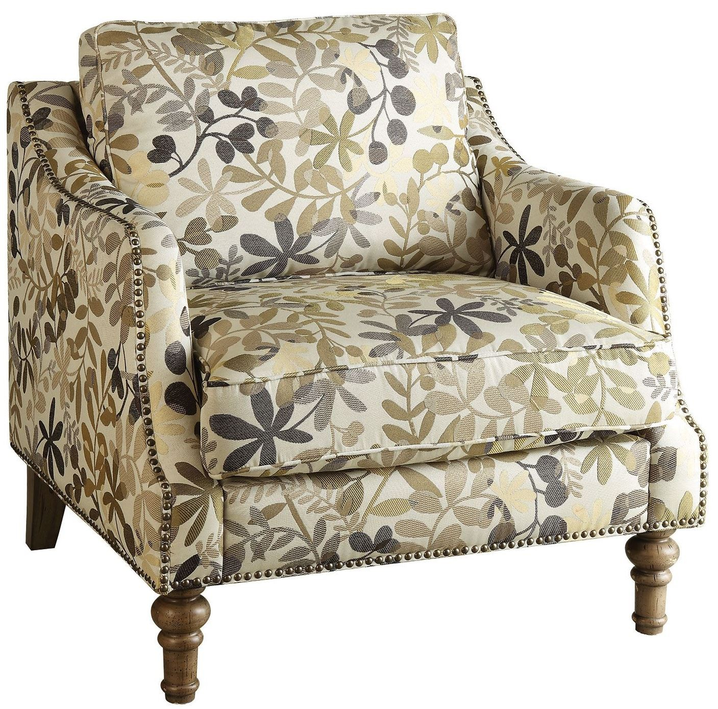 print accent chair pier one chairs on sale leaf beige fabric from coaster 902456