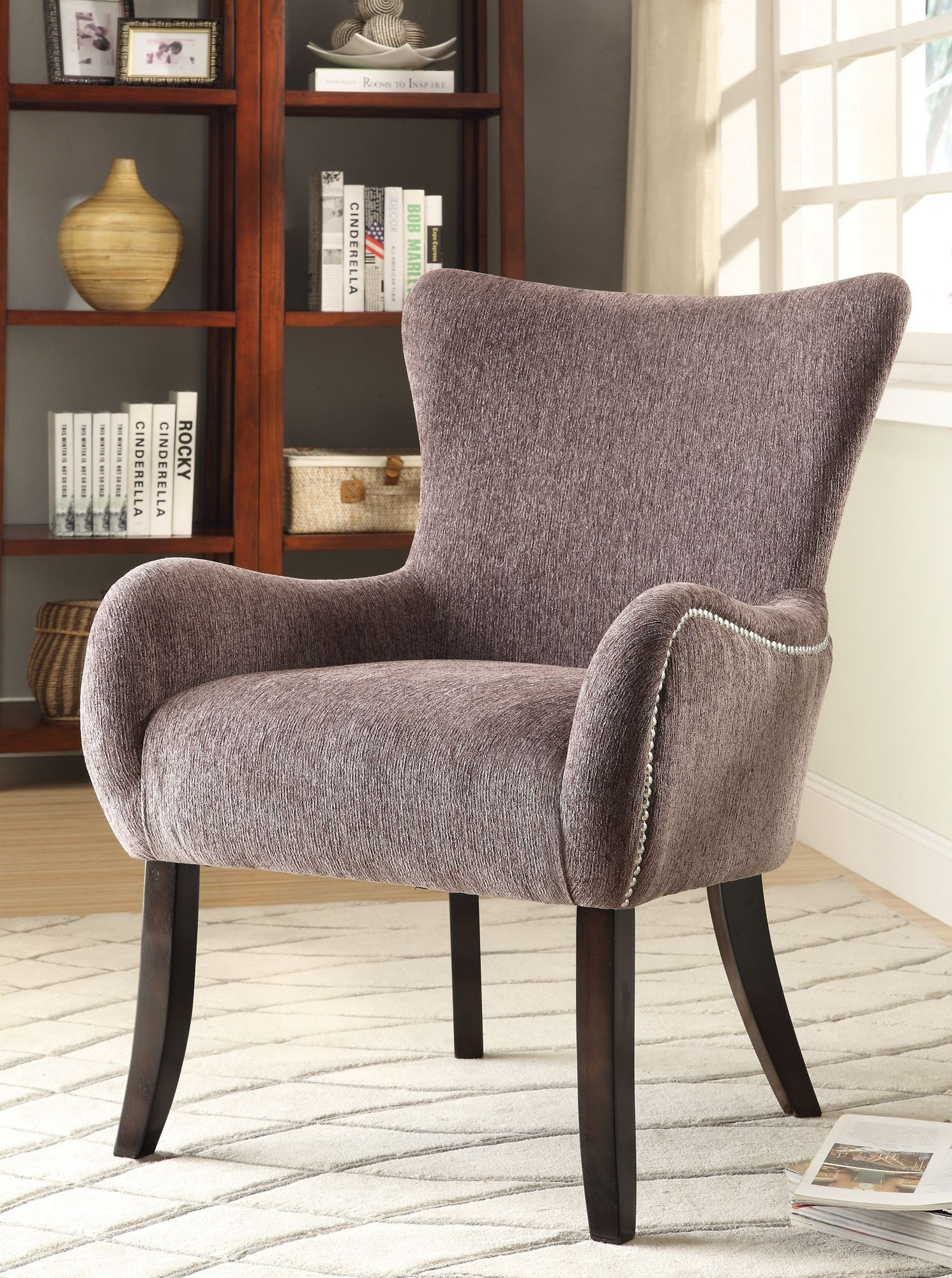 Grey Upholstered Chair 902504 Upholstered Grey Accent Chair From Coaster 902504