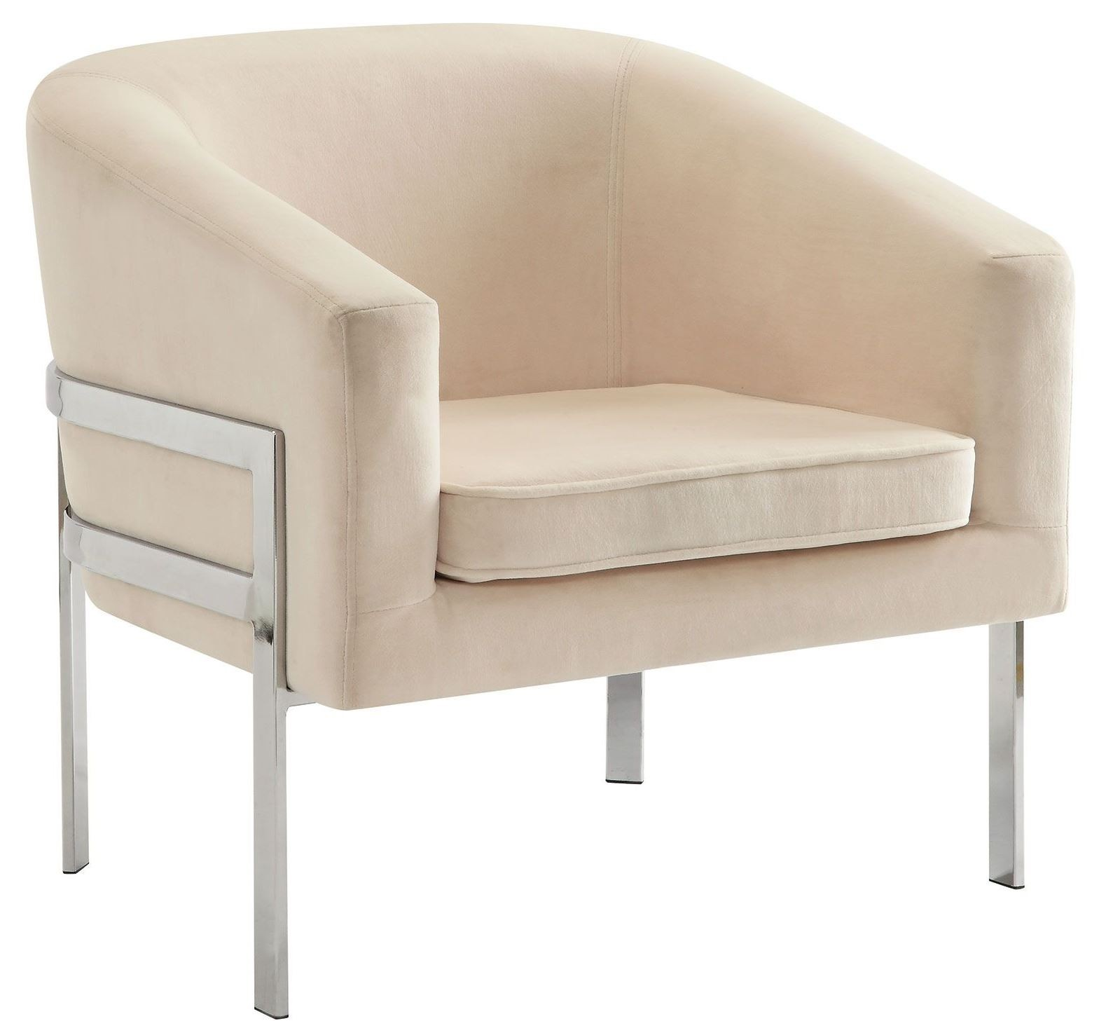 Cream Velvet Accent Chair from Coaster 902535  Coleman