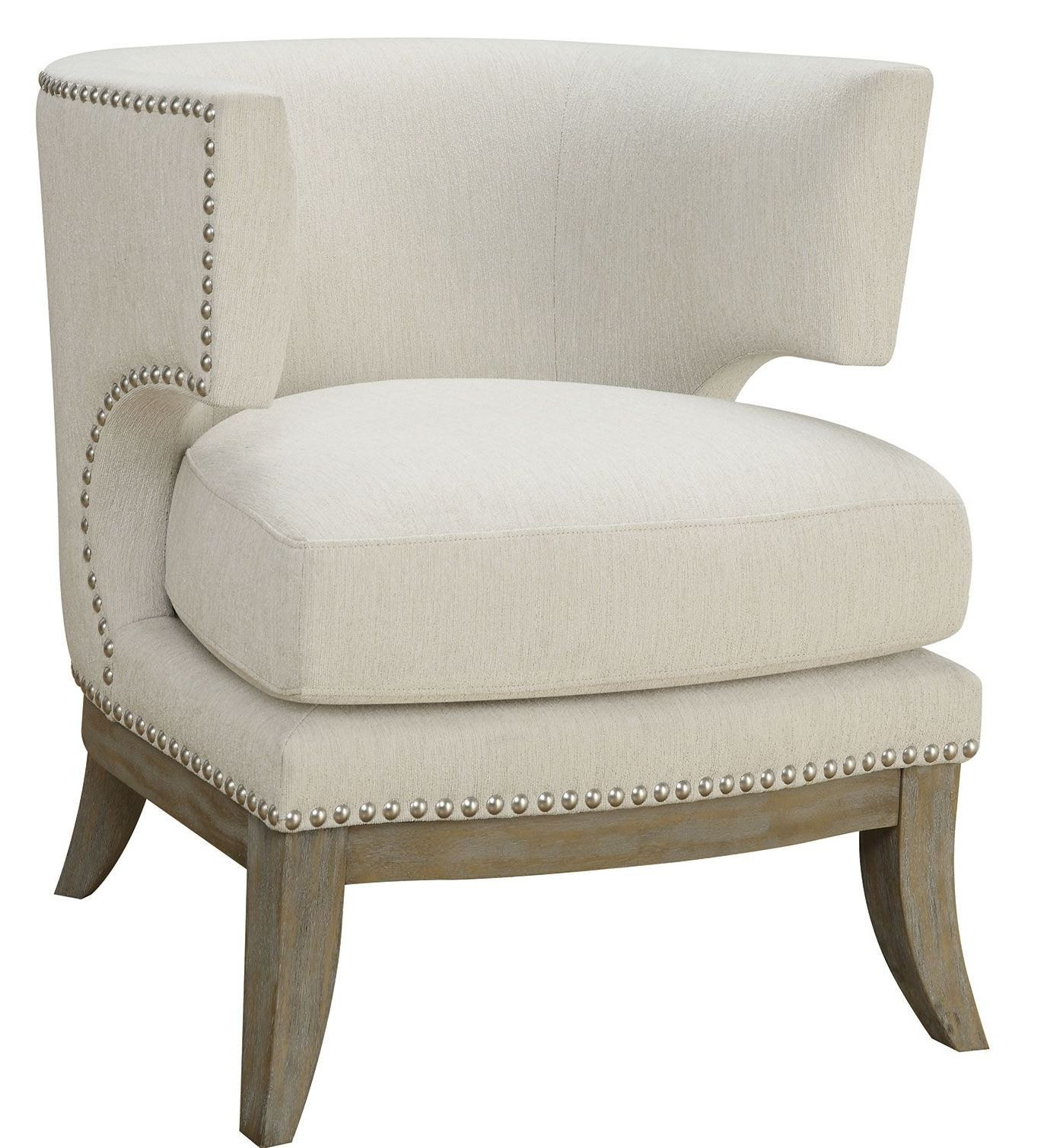 White Arm Chairs White Chenille Accent Chair From Coaster 902559