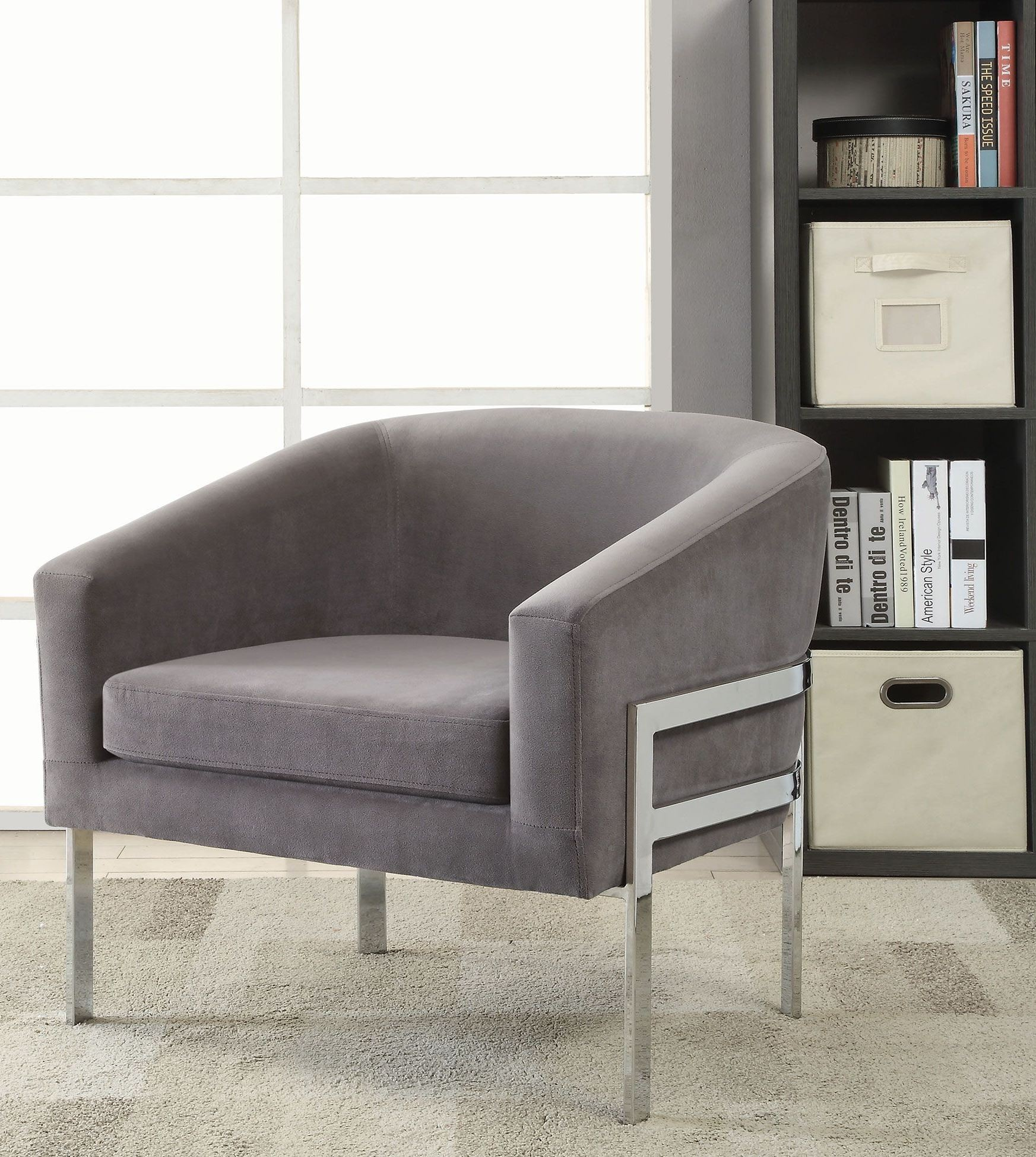 Gray Velvet Chair Grey Velvet Accent Chair From Coaster Coleman Furniture