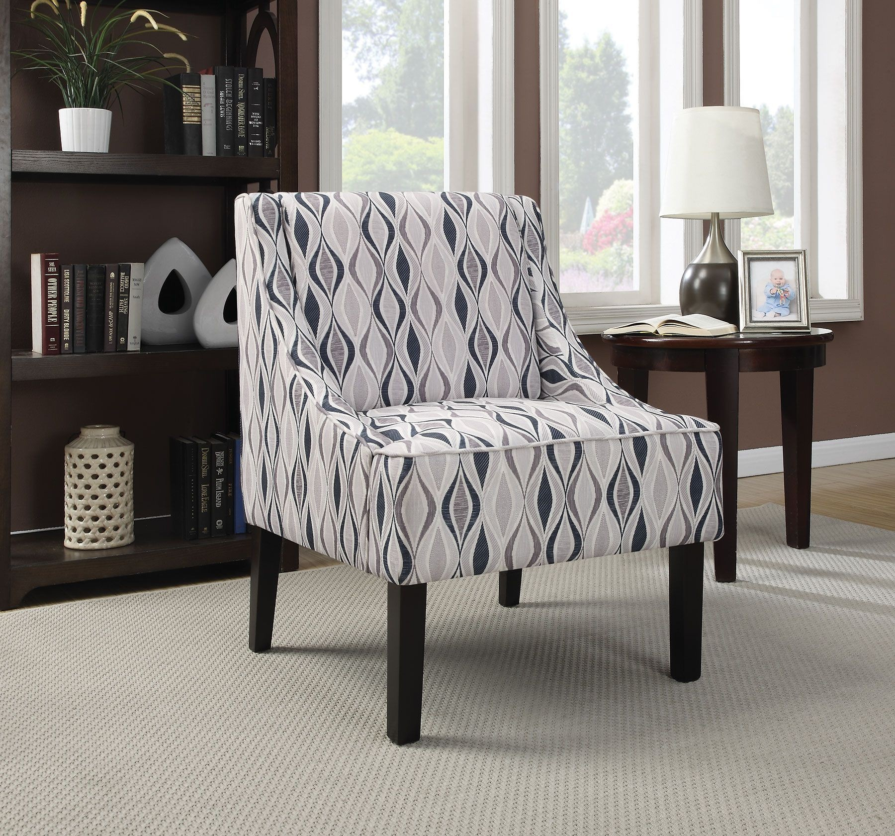 blue pattern accent chair stool nz light from coaster 902603