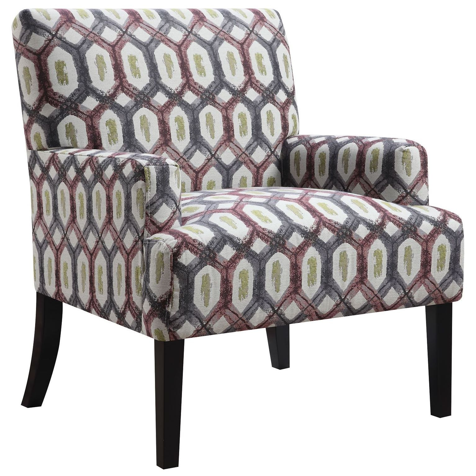 Pattern Chair Grey Geometric Pattern Accent Chair From Coaster 902620